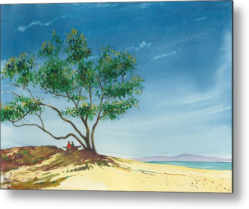 Picnic At The Beach Metal Print featuring the painting Two At The Beach by Ray Cole