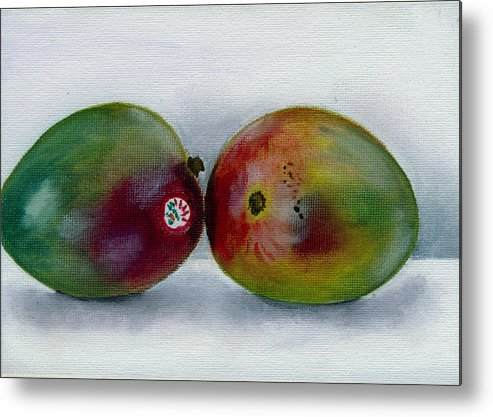 Still-life Metal Print featuring the painting Two Mangoes by Sarah Lynch