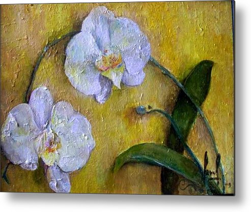 Metal Print featuring the painting Two White Orchids by Carol P Kingsley