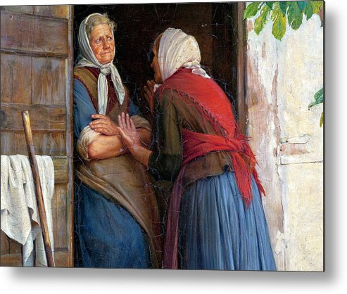 Carl Heinrich Bloch Metal Print featuring the painting Two Women Talking by Carl Heinrich Bloch