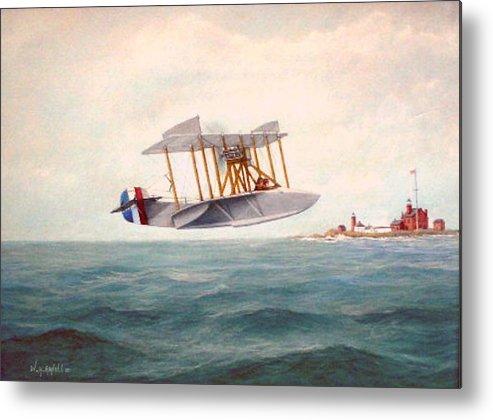 Airplane Metal Print featuring the painting U. S. Coast Guard - Curtiss Flying Boat by William H RaVell III