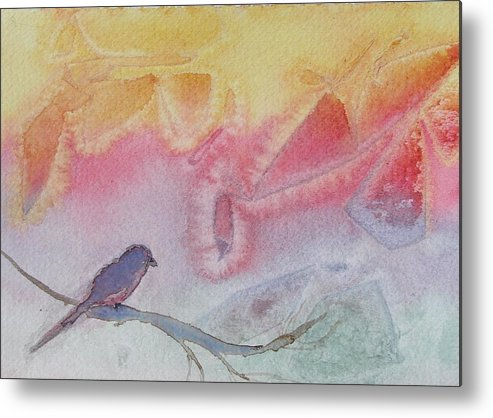 Birds Metal Print featuring the painting Unexpected Visitor by Dottie Briggs