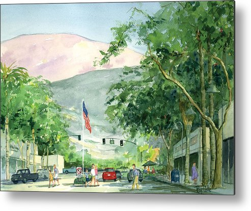 Main Street Metal Print featuring the painting Up Linden Avenue by Ray Cole