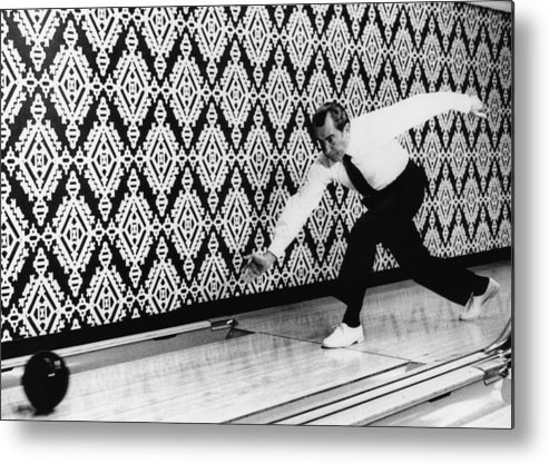 1970s Candids Metal Print featuring the photograph U.s. President Richard Nixon, Bowling by Everett