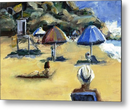 Umbrella Metal Print featuring the painting Victoria Beach White Hat by Randy Sprout