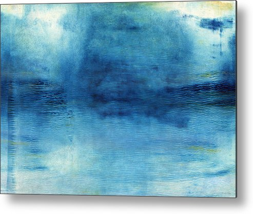 Blue Metal Print featuring the painting Wash Away- Abstract Art By Linda Woods by Linda Woods