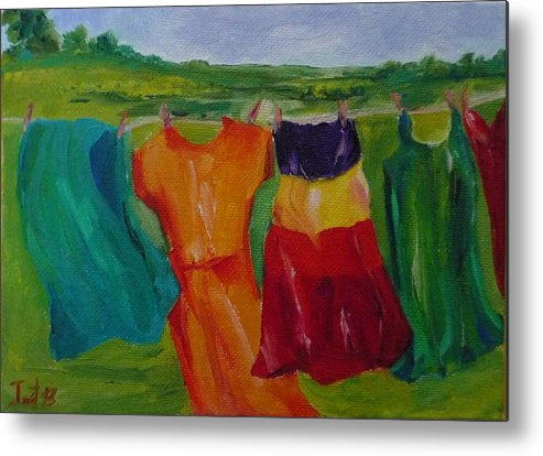 Wash Clothes Dance Metal Print featuring the painting Wash Dance by Irit Bourla