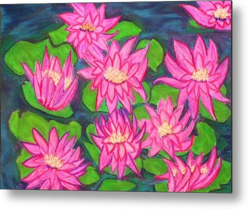 Landscape Metal Print featuring the drawing Water Lillies by Katina Cote
