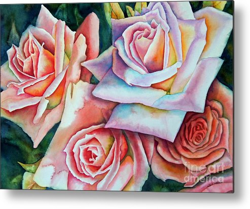 Floral Metal Print featuring the painting Wedding Roses by Gail Zavala