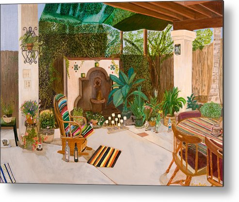 Landscape Metal Print featuring the painting Welcome To Paradise by Arvin Nealy