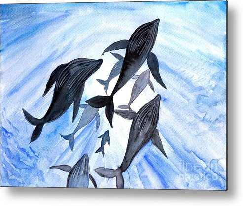Humpback Whale Metal Print featuring the painting Whale Family On Sun Ray by Sweeping Girl