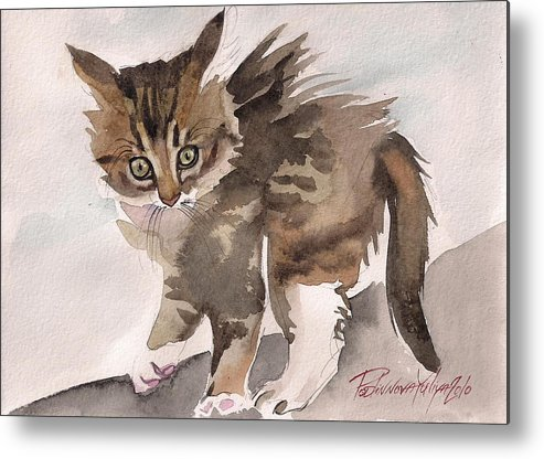 Cat Kitty Kitten Sweet Wild Gray Tabby Watercolor Paper Metal Print featuring the painting Wild Thing by Yuliya Podlinnova
