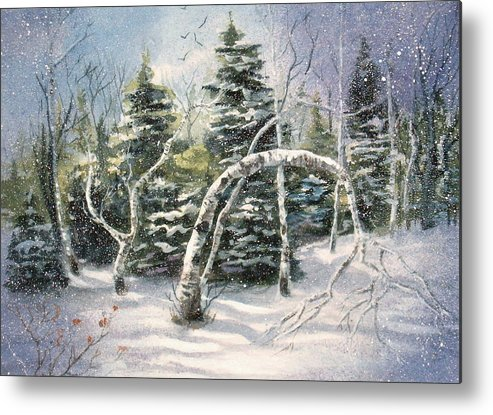 Landscape Metal Print featuring the painting Winter by Bonnie Rogers