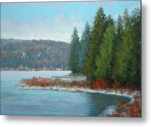 Pastels Metal Print featuring the painting Winter Lake by Paula Ann Ford