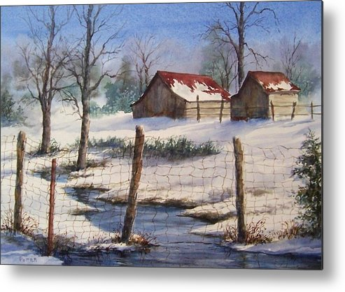 Winter Landscape Metal Print featuring the painting Winter Out Buildings by Virginia Potter