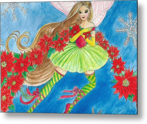 Fairy Brunette Christmas Poinsettia Snow Butterfly Ballerina Metal Print featuring the painting Winterfest by Hilary England