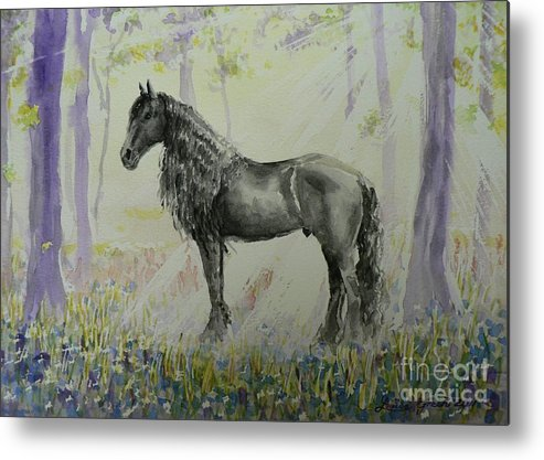Friesian Metal Print featuring the painting Wizzards Magic Glade by Louise Green
