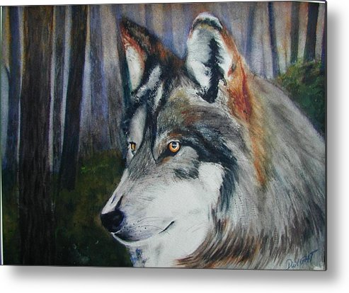 Animal Metal Print featuring the painting Wolf by Dwight Williams