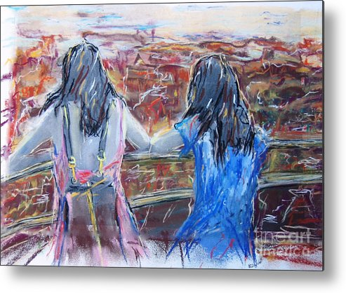 Painting Metal Print featuring the painting Woman And Girl In Nature by Sigalit Aharoni