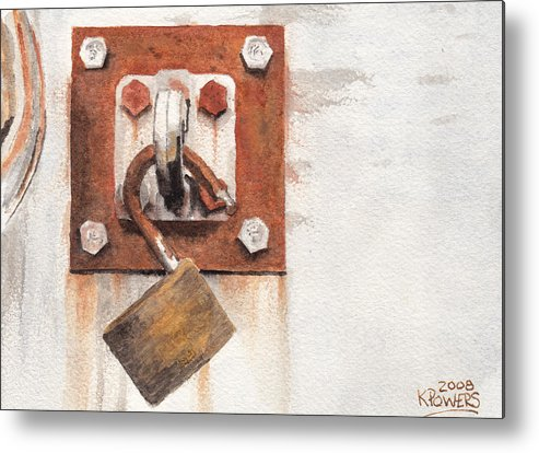 Rust Metal Print featuring the painting Work Trailer Lock Number Two by Ken Powers