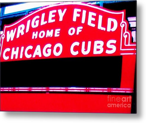 Photo Metal Print featuring the photograph Wrigley Field Sign by Marsha Heiken