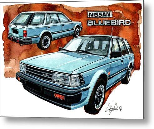 Nissan Metal Print featuring the painting Nissan Bluebird Sw by Yoshiharu Miyakawa
