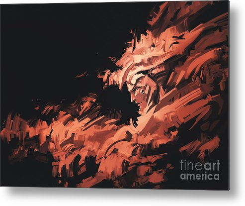 Color Metal Print featuring the digital art Abstract Painting Of Man Face With by Tithi Luadthong