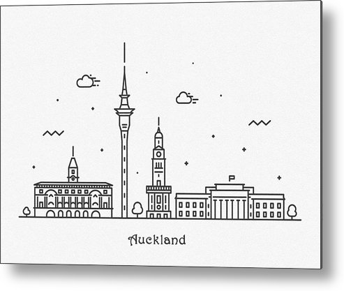 Auckland Metal Print featuring the drawing Auckland Cityscape Travel Poster by Inspirowl Design