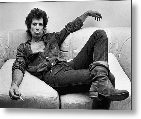 Rock Music Metal Print featuring the photograph Keith Richards Portrait Session by George Rose