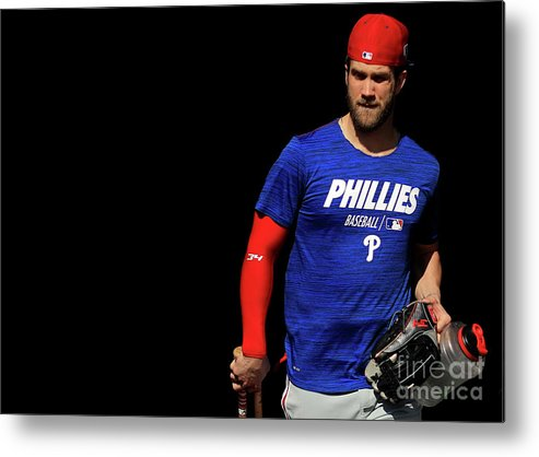 Working Metal Print featuring the photograph Philadelphia Phillies Bryce Harper by Mike Ehrmann