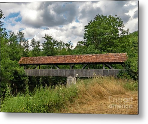Rothenburg Bridge Metal Print featuring the photograph Rothenburg Covered Bridge by Norma Brandsberg