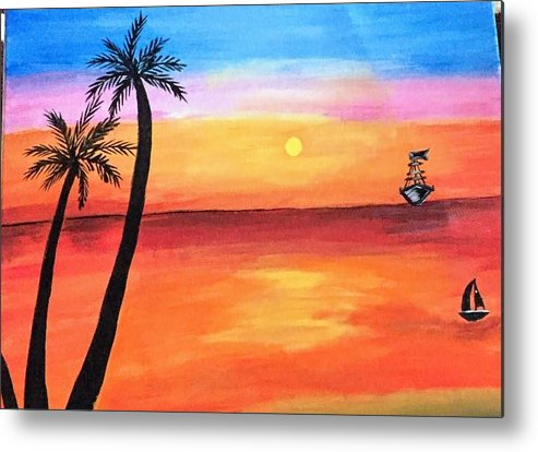 Canvas Metal Print featuring the painting Scenary by Aswini Moraikat Surendran