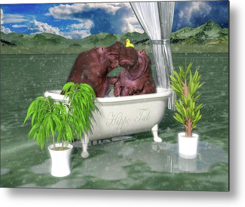 Hippo Metal Print featuring the digital art The Hippo Tub by Betsy Knapp