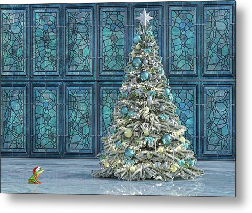 Frog Metal Print featuring the digital art The Hoping Holiday Frog by Betsy Knapp