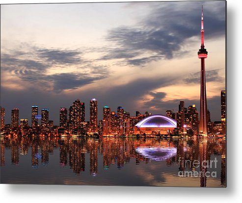 Office Metal Print featuring the photograph Toronto Skyline At Sunset, Ontario by Inga Locmele