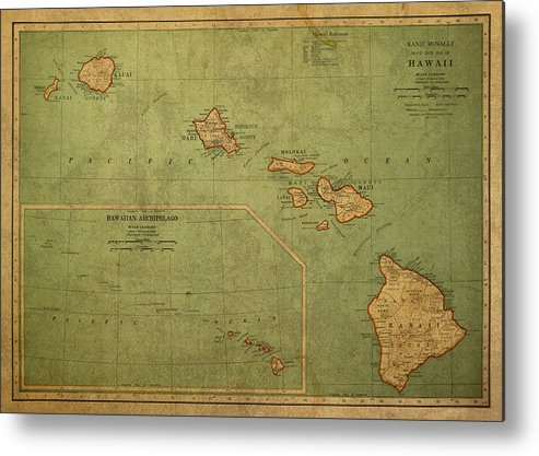 Vintage Metal Print featuring the mixed media Vintage Map Of Hawaii by Design Turnpike