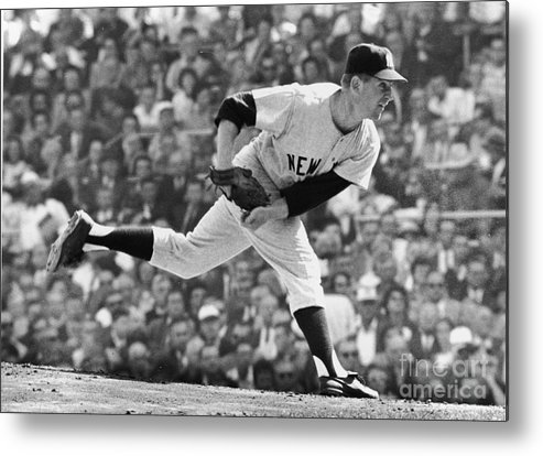 American League Baseball Metal Print featuring the photograph Whitey Ford On The Pitchers Mound by Robert Riger