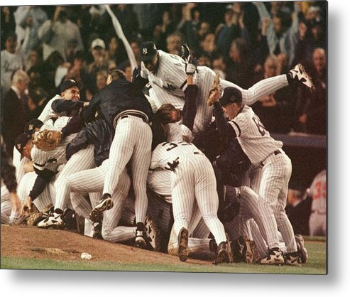 Celebration Metal Print featuring the photograph World Series 6 Yankees by Al Bello