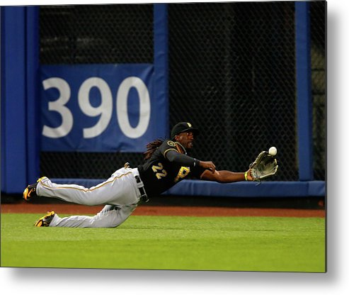 Ball Metal Print featuring the photograph Juan Lagares And Andrew Mccutchen by Jim Mcisaac