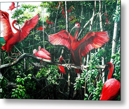 Caribbean Painting Scarlet Ibis Painting Bird Painting Coming Home To Roost Painting The Caroni Swamp In Trinidad And Tobago Greeting Card Painting Painting Tropical Painting Metal Print featuring the painting Scarlet Ibis by Karin Dawn Kelshall- Best