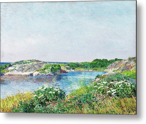 The Little Pond Metal Print featuring the painting The Little Pond, Appledore - Digital Remastered Edition by Frederick Childe Hassam