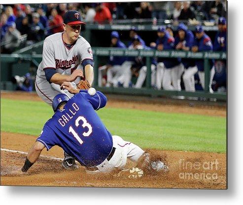 Baseball Catcher Metal Print featuring the photograph Tyler Duffey, Chris Gimenez, And Joey Gallo by Brandon Wade