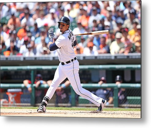 American League Baseball Metal Print featuring the photograph Victor Martinez by Leon Halip