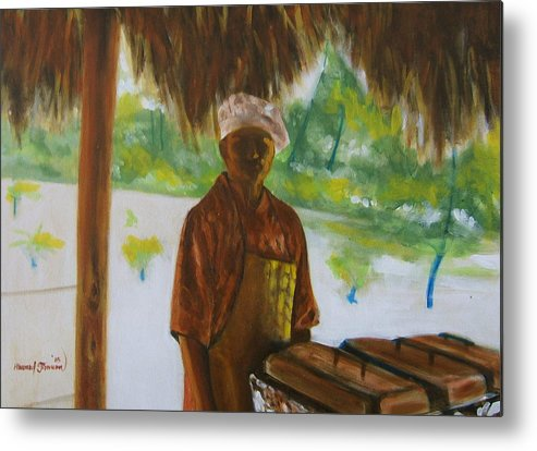 Food Service Worker On Island In The Caribbeans Metal Print featuring the painting Untitled by Howard Stroman