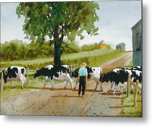 Cows Metal Print featuring the painting Cattle Crossing by Faye Ziegler