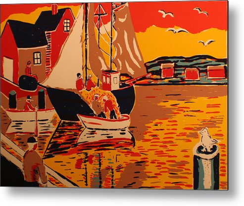 Metal Print featuring the painting Fishing Boat by Biagio Civale