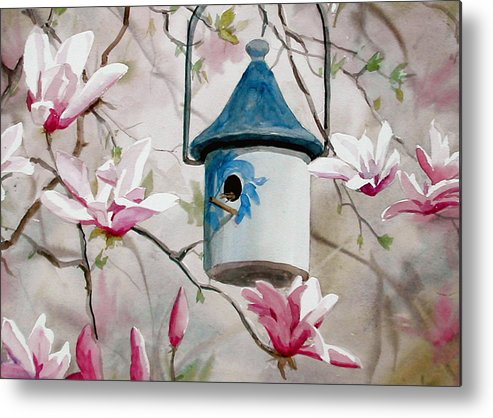 Birdhouse Metal Print featuring the painting Heavenly Home by Faye Ziegler