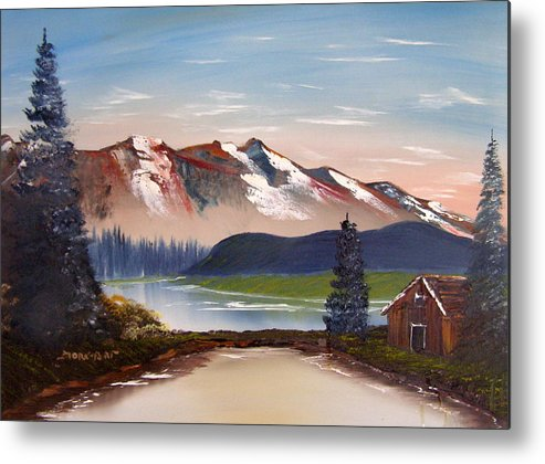 Landscape Metal Print featuring the painting Lonely Cabin In The Mountains by Sheldon Morgan