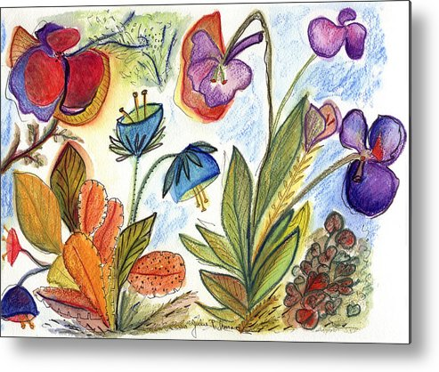 Nature Flowers Orchids Art Painting Plants Fantasy Metal Print featuring the painting Orchid No. 24 by Julie Richman