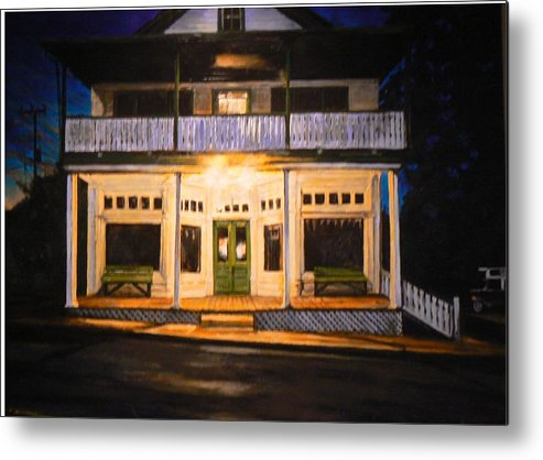 Night Scene Metal Print featuring the painting The Whippoorwill's Shift by Thomas Akers